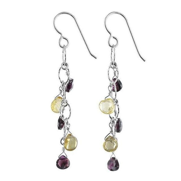 Rhodolite Garnet Citrine Gemstone Sterling Silver Handcrafted Earrings - Earrings