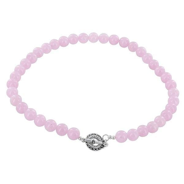 Rose Pink Jade Gemstone Sterling Silver Necklace - Necklaces