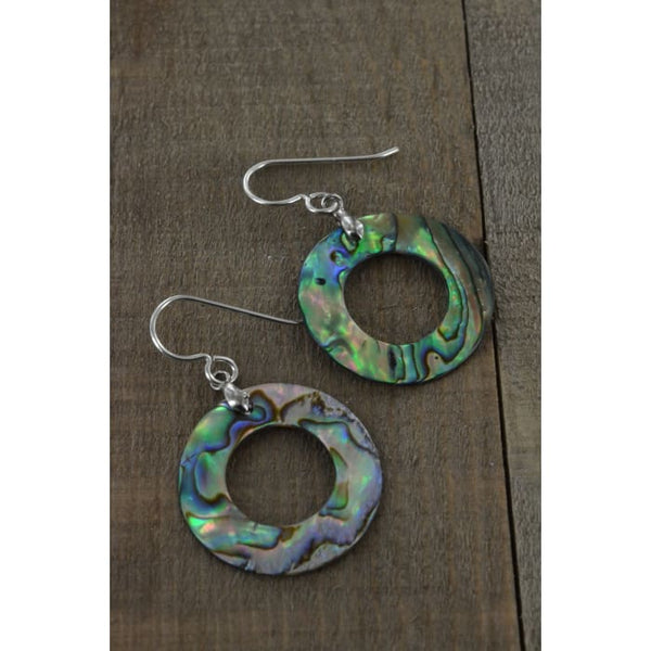 Round Abalone Earrings 25x25 MM | Mother of Pearl Jewelry | Abalone Jewelry - Earrings