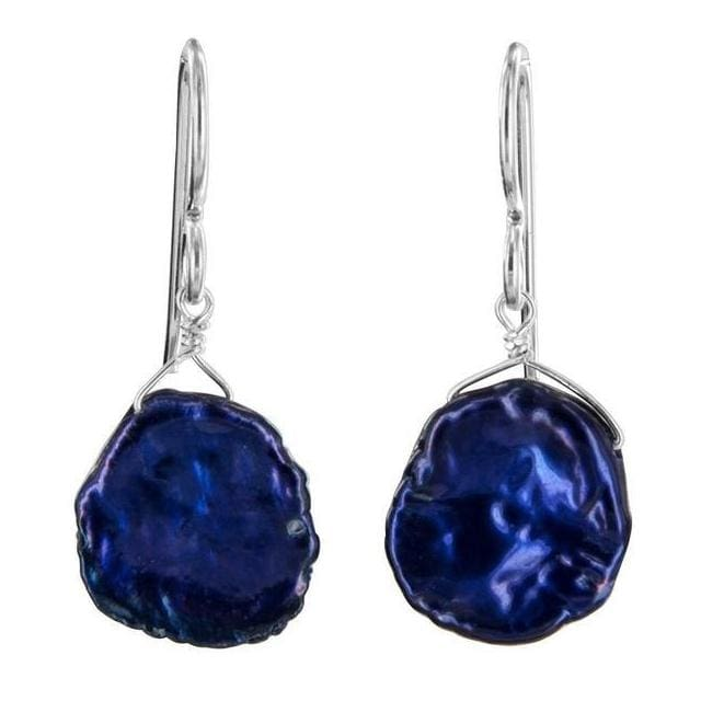 Royal Indigo Blue Keshi Pearl Silver Earrings - Earrings