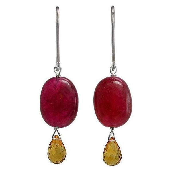 Ruby Quartz and Citrine Briolette Sterling Silver Dangle Earrings - Earrings