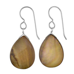 Smokey Brown Mother of Pearl Sterling Silver Handmade Dangle Earrings - Earrings
