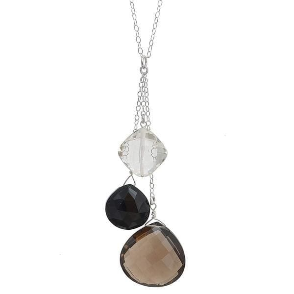 Smokey Quartz Black Onyx and Rock Crystal Briolette Natural Gemstone Sterling Silver Handmade 18 Inch Necklace - Necklaces