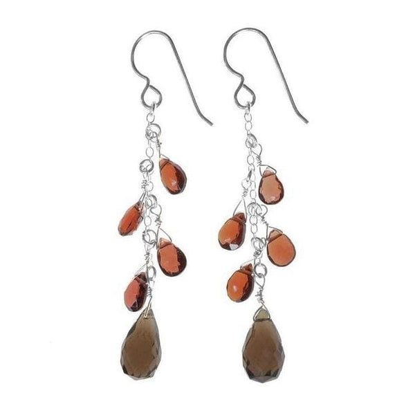 Smokey Quartz Briolette and Garnet Multi Natural Gemstone Sterling Silver Handmade Earrings - Earrings