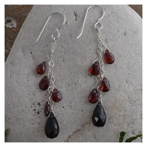 Smokey Quartz Briolette and Garnet Natural Gemstone 925 Sterling Silver Handmade Earrings - Earrings
