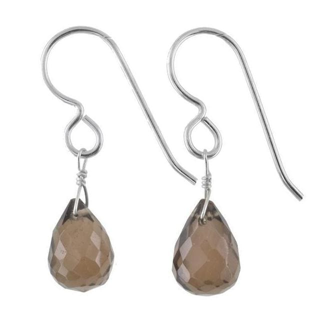 Smokey Quartz Gemstone Sterling Silver Handmade Dainty Earrings - Earrings