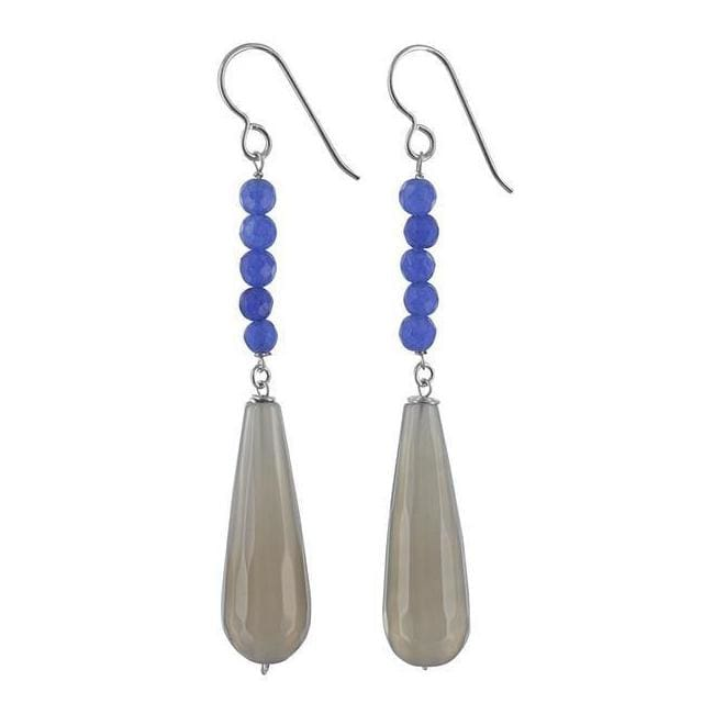 Smoky Agate and Navy Jade Sterling Silver Handmade Long Dangle Earrings - Earrings