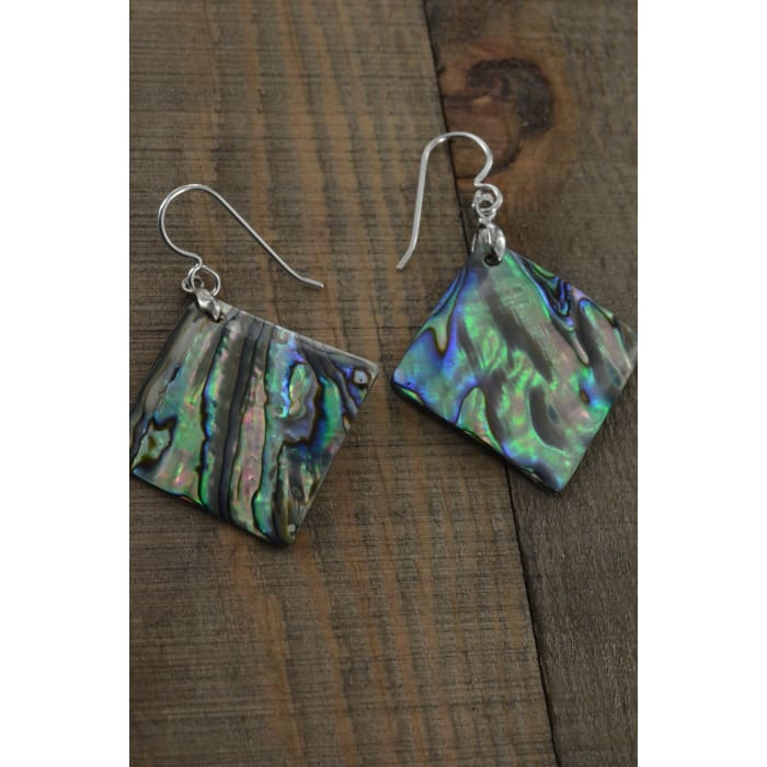 Square Abalone Earrings 25x25 MM | Mother of Pearl Jewelry | Abalone Jewelry - Earrings