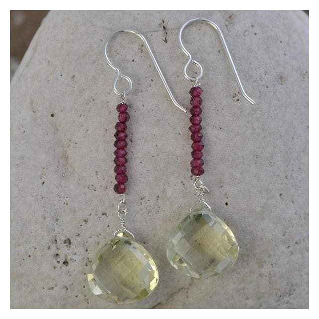 Tangy Lemon Quartz Briolette and Rhodolite Garnet Natural Gemstone Handmade Earrings - Earrings