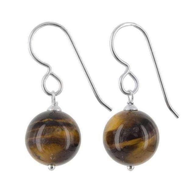 Tiger Eye Gemstone Sterling Silver Handmade Earrings - Earrings