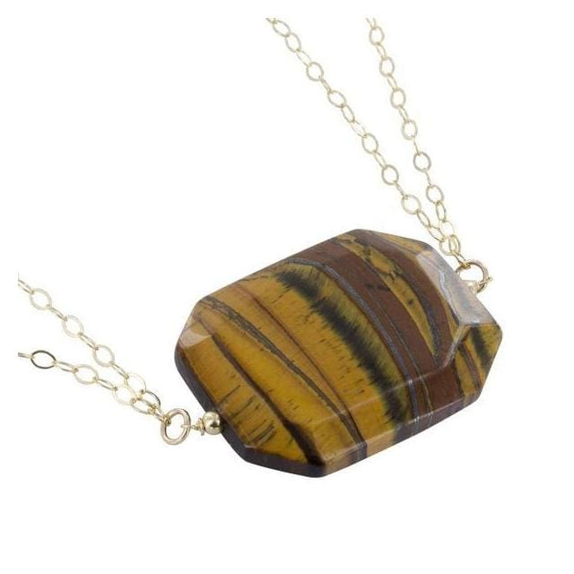 Tigers Eye Gemstone 14 Karat Gold Filled Handmade 18 inch Necklace - Necklaces