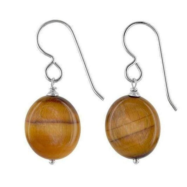 Tigers Eye Gemstone Sterling Silver Handmade Earrings - Earrings