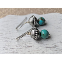 Turquoise Bead Gemstone Silver Handmade Earrings - Earrings