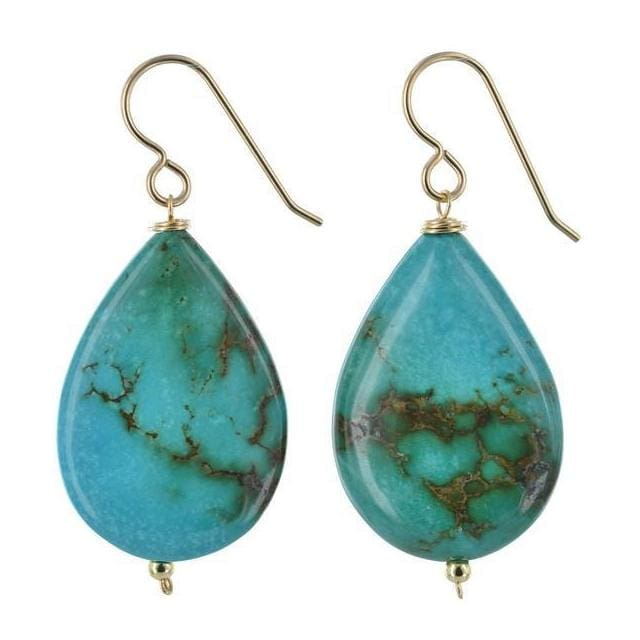 Turquoise Gemstone 14 Karat Gold Filled Handmade Earrings - Earrings