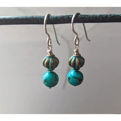 Turquoise Gemstone Silver Handmade Earrings - Earrings