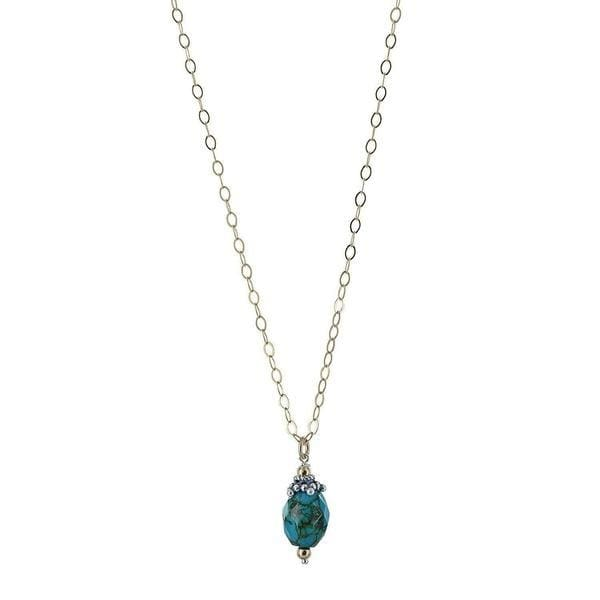 Turquoise Gemstone Sterling Silver Handmade Dangle Drop Pendant Necklace - Necklaces