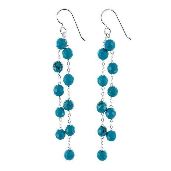 Turquoise Howlite Gemstone Sterling Silver Handmade Chandelier Earrings - Earrings