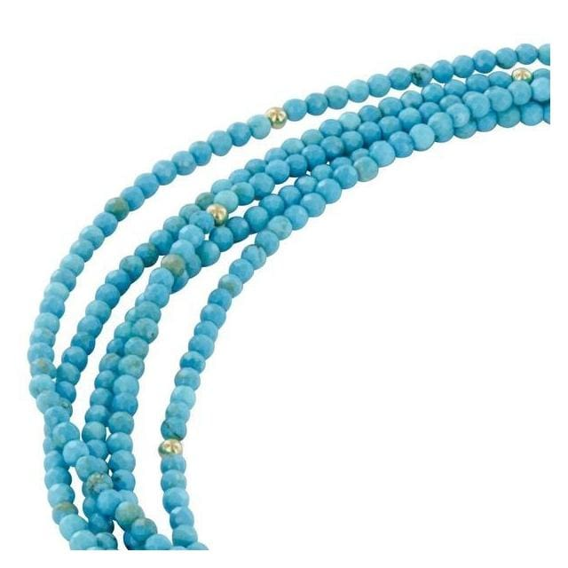 Turquoise Natural Gemstone 14 Karat GF Handmade Necklace with Pewter Toggle Clasp - Necklaces