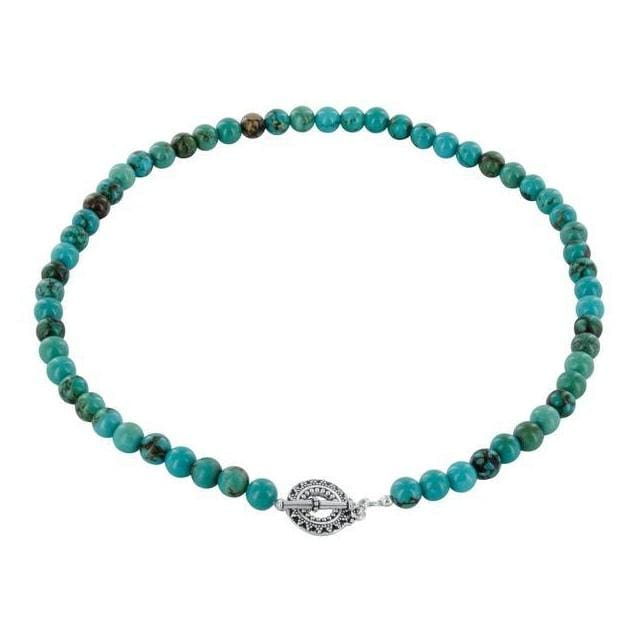 Turquoise Natural Gemstone 925 Sterling Silver Pewter Toggle Clasp Handmade 18 inch Strand Necklace - Necklaces