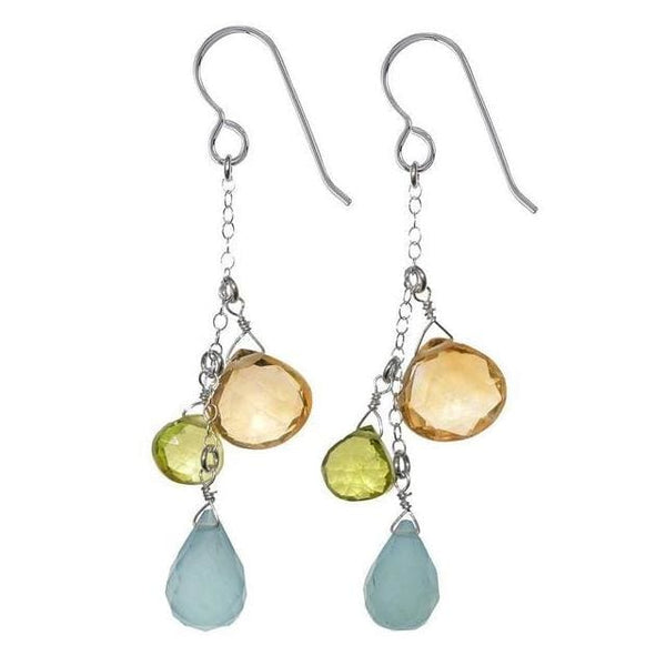 Unique Birthstone Earrings | Chalcedony Citrine Peridot Multi Gemstones - Earrings