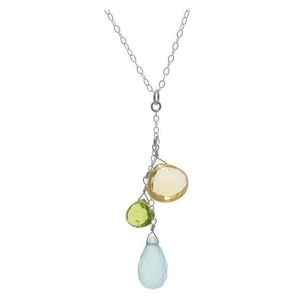 Unique Birthstone Necklace | Chalcedony Citrine Peridot Multi Gemstones - Necklaces