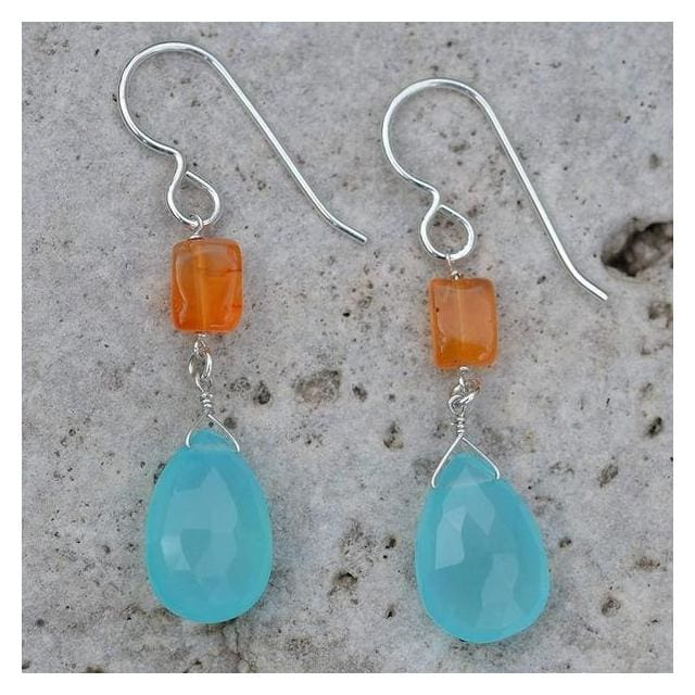 Unique Dangle Earrings with Blue Chalcedony Briolette and Carnelian Gemstones - Earrings