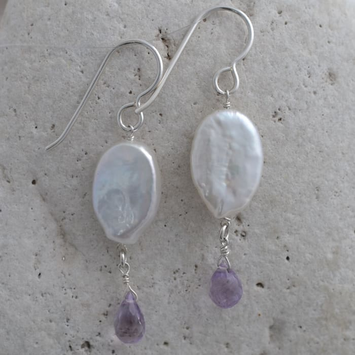 Unique Earrings | Coin Pearl Lavender Pink Amethyst | Gemstone Dangle Earrings - Earrings