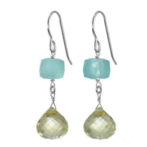 Unique Gemstone Earrings | Lemon Quartz Aqua Chalcedony Gemstones - Earrings