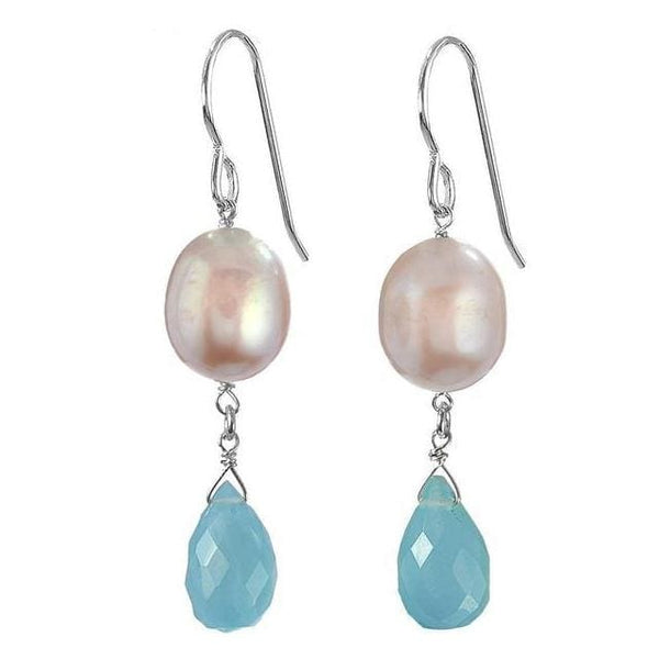 Unique Pearl Earrings | Blue Chalcedony Pearl Gemstone Dangle Earrings - Earrings
