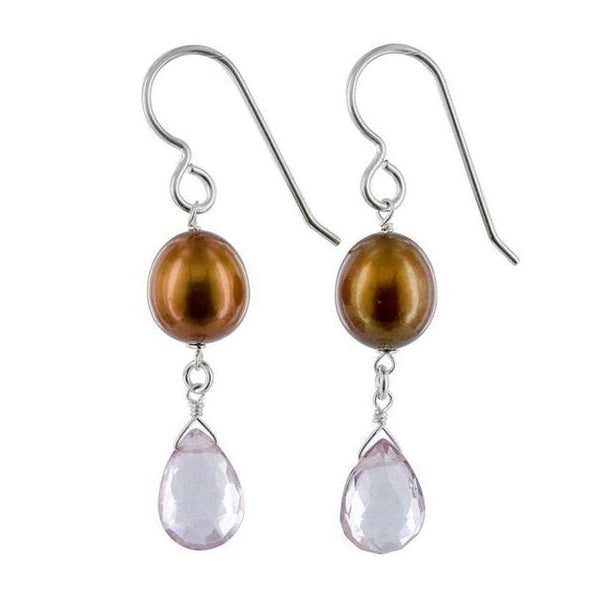 Unique Pearl Earrings | Copper Pearl Gemstone Silver Handmade Jewelry - Earrings