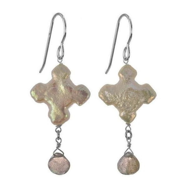 Unique Pearl Earrings with Cross Pearl and Labradorite Gemstones in 925 Sterling Silver - Earrings