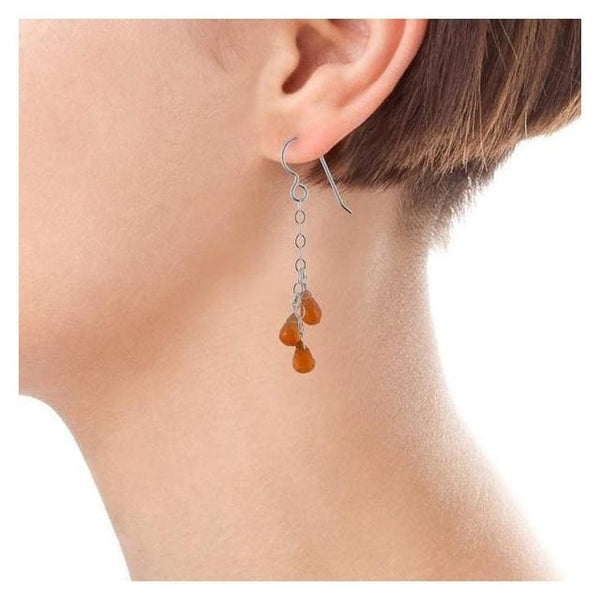 Vibrant Orange Carnelien Gemstone Sterling Silver Handmade Long Dangle Drop Chandelier Earrings - Earrings