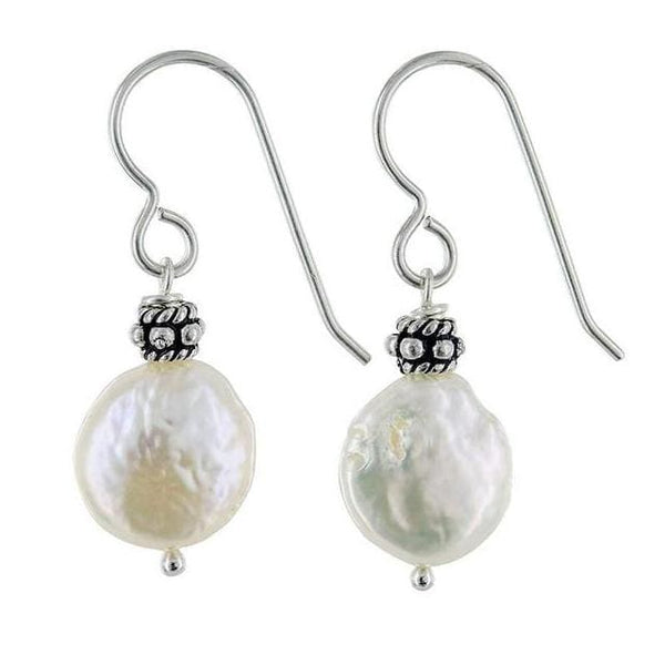White Coin Freshwater Cultured Pearls Sterling Silver Handmade Dainty Dangle Drop Earrings - Earrings