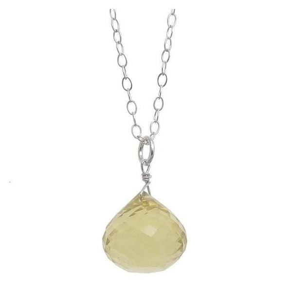 Yellow Necklace with a Lemon Quartz Briolette Gemstone Pendant Sterling - Necklaces