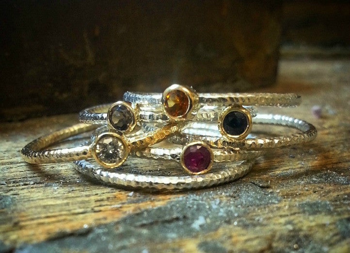 Crush Collection Stackable Rings in Sterling & 14kt Yellow Gold - G.R. Werkheiser & Co.  - 1