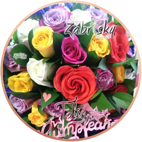 Colorful Roses - Happy Birthday