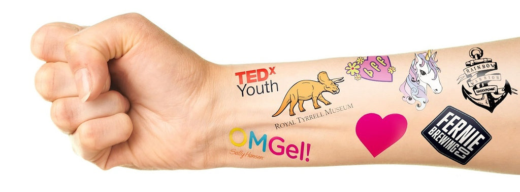 custom temporary tattoos shown on arm