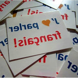 "photo of ""J'aime parler français"" custom temporary tattoos, size 1.5 x 2"