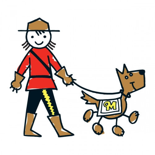 Lil Mountie Walking Her Dog Temporary Tattoos