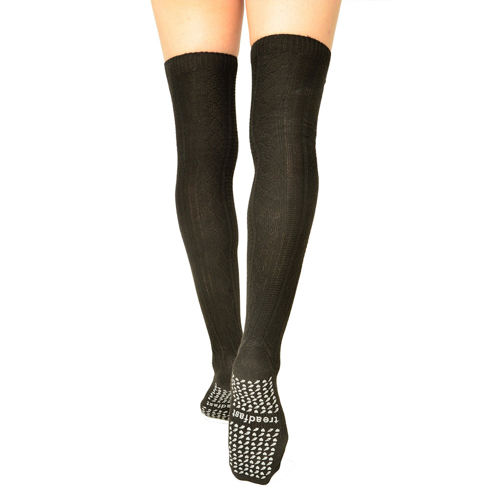 Treadfast Maia Thigh High Women's Black Pilates Socks