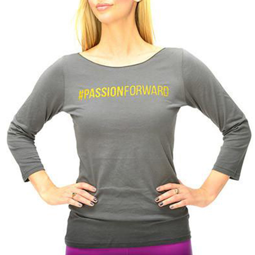 Tops - Women's Grey #PASSIONFORWARD 3/4 Sleeve Tee