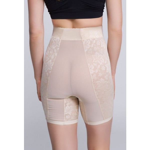 Jacquard Lace Firm Control Long Leg Shaper - Baretique  - 2