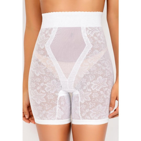 Jacquard Lace Firm Control Long Leg Shaper - Baretique  - 1