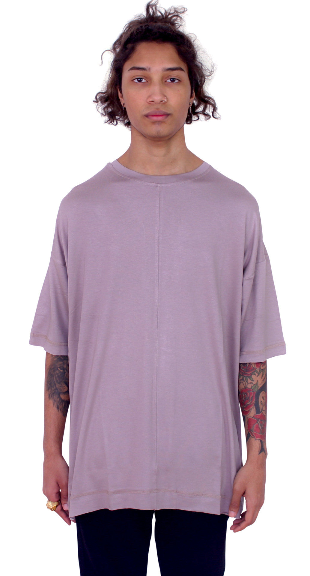DROPPED SHOULDERS TEE - ROSE