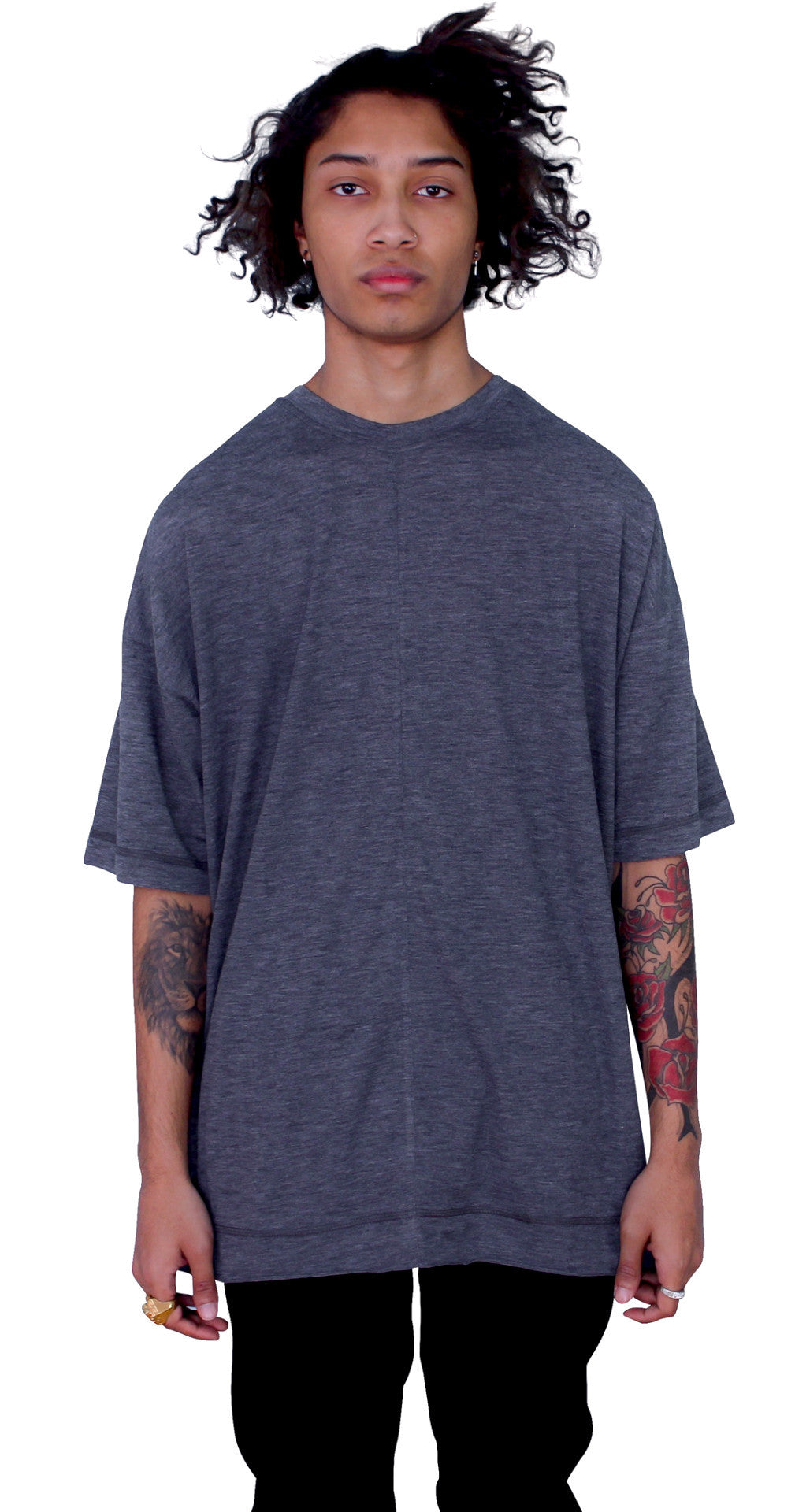 DROPPED SHOULDERS TEE - ASH