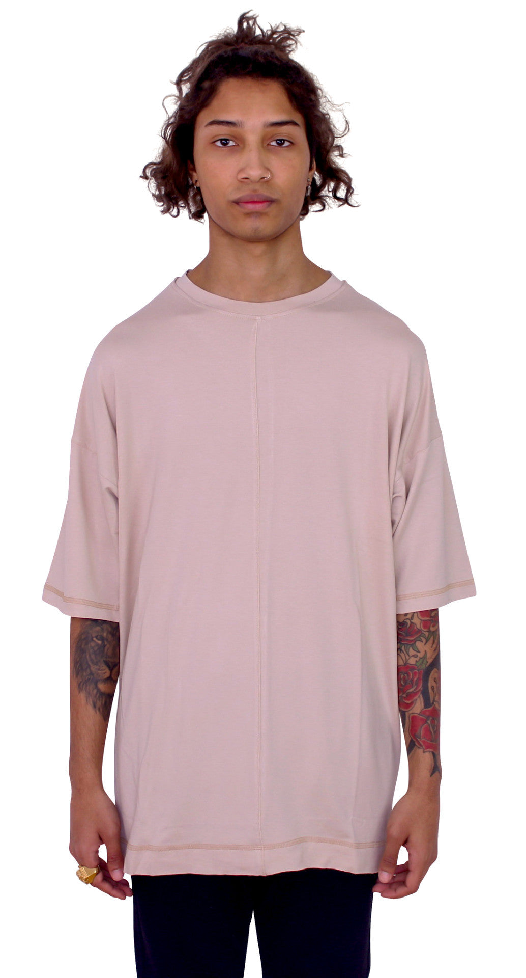 DROPPED SHOULDERS TEE - CREAM