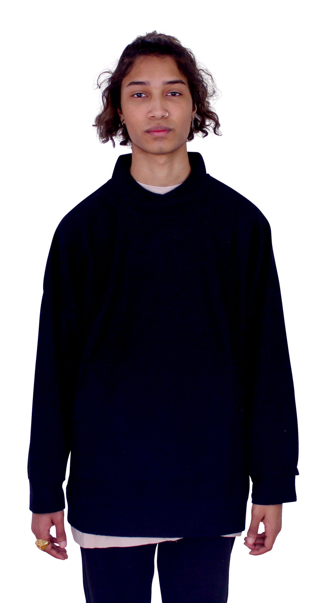 DESTROYED REVERSED PULLOVER - BLACK