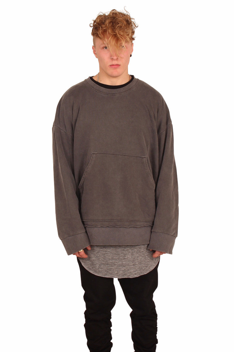 DESTROYED CHARCOAL PULLOVER