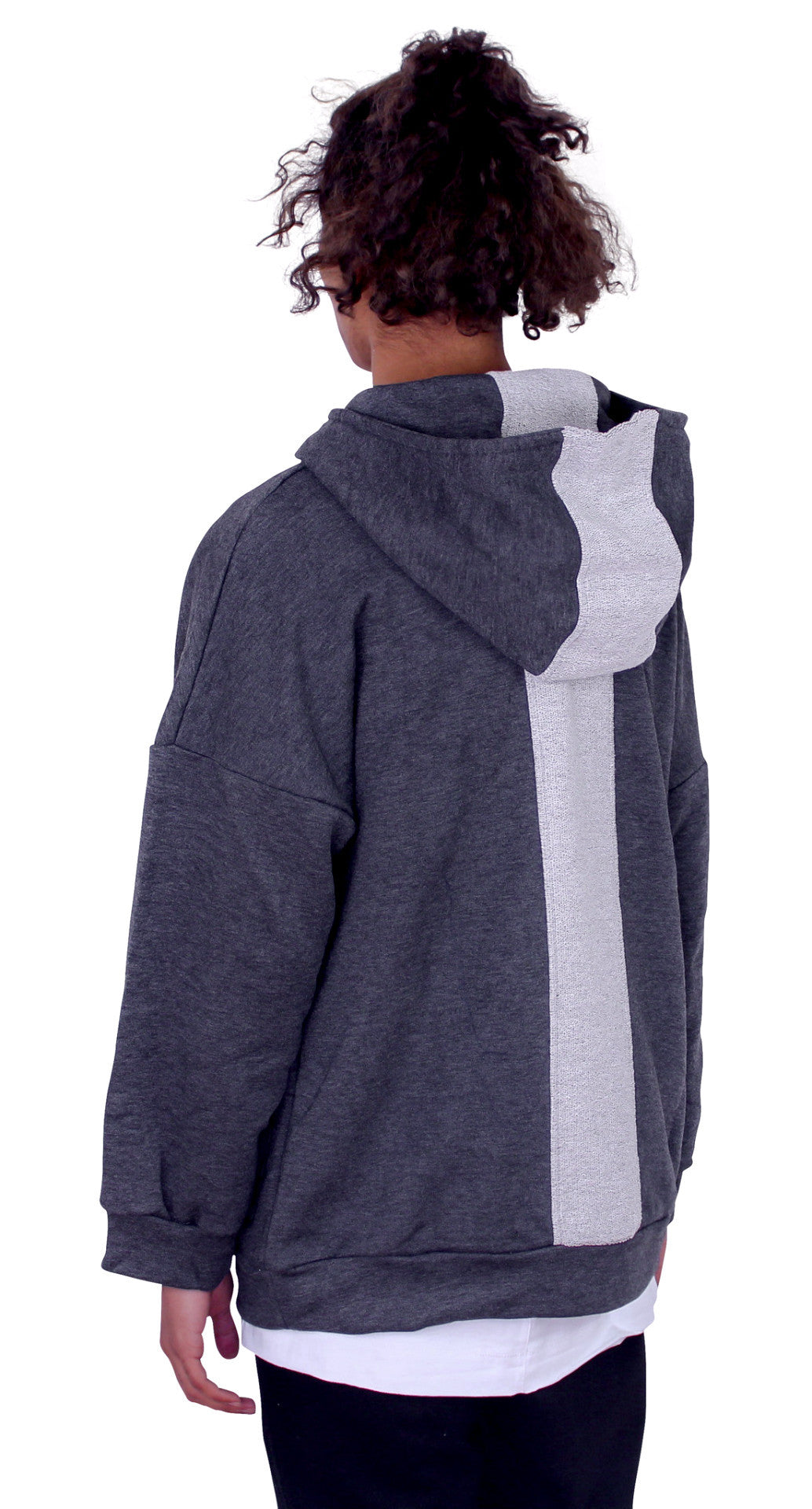 REVERSED BACK PANEL HOODIE - ASH WHITE
