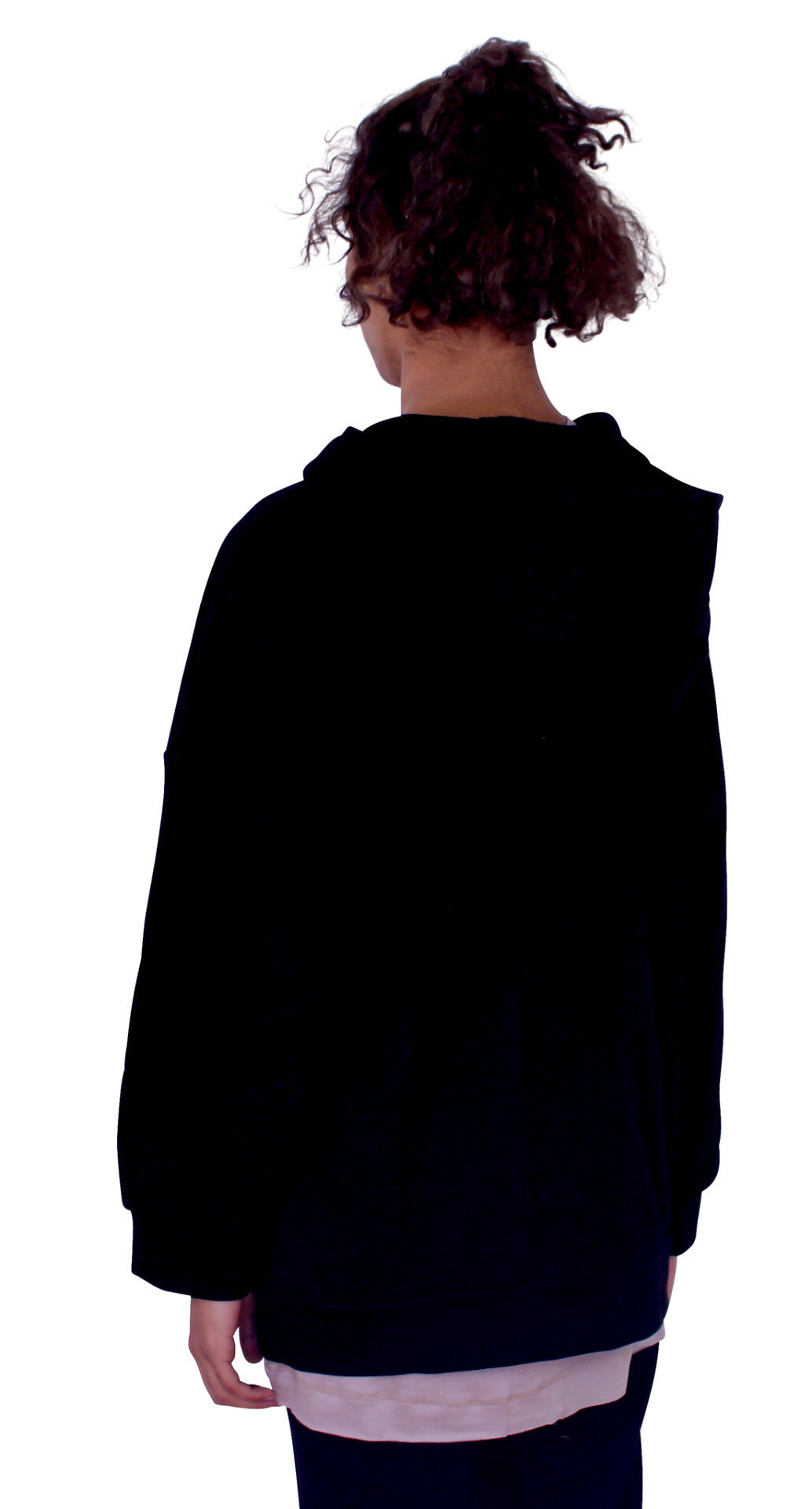 REVERSED BACK PANEL HOODIE - BLACK